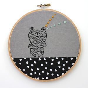 Image of Moomi the Bear who reads minds - Hand embroidered wall hanging - Ready to Ship