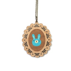 Image of Blue Bunny - Wooden Pendant Necklace - Ready to Ship