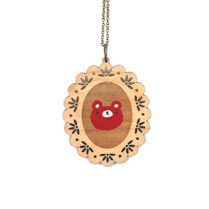 Image of Red Bear - Wooden Pendant Necklace