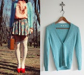 Image of uniqlo turquoise blue cardigan M