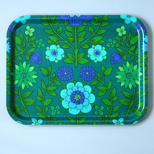 Image of Limited Edition Vintage Green Floral Fabric Tray - LAST ONE