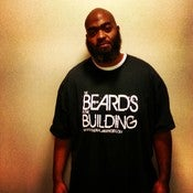 Image of BEARDS IN THE BUILDING T-SHIRT BLACK WITH WHITE PRINT