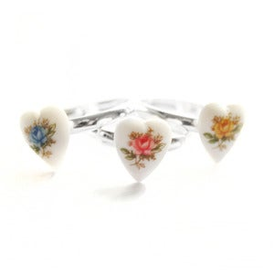 Image of Tiny Vintage Tea Rose Heart Ring