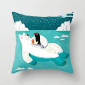 "Hitching a Ride - Cushion Cover / Throw Pillow (16"" x 16"")"