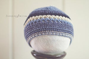 Image of Cotton {Shades of Blue} classic knit beanie (Size options)
