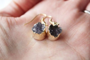 Image of NEW IN! TWINKLE Semi-Precious Amethyst Dropper Earrings.