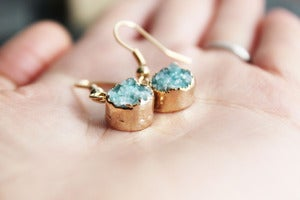 Image of NEW IN! TWINKLE Semi-Precious Mint Drusy Earrings.