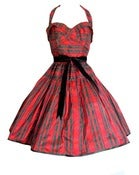 Red Silk Tartan Dress MADE TO ORDER