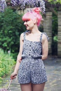 Image of Monochrome Ditsy Floral Playsuit