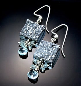 Image of Titanium Coated Drusy Agate, Aquamarine and Sterling Silver Earrings