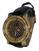 Image of Tiger Stripe Gold Overlay Diamond King Iced Out Watch w/Extra Band