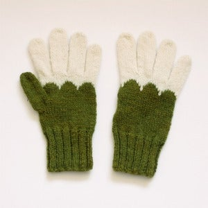 Image of Granliden Mittens: Birch Leaf & Indigo/Dark green