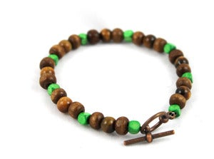 Image of Wood Bracelet with Green Accents