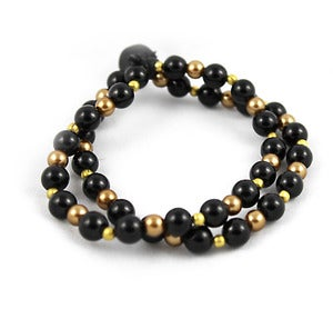 Image of Black and Gold Double Wrap Stretch Bracelet