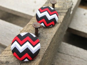 Image of Chevron Button Earring Collection 3