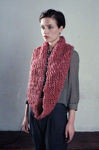Image of lambton extra-long hand knit cowl of thick & thin merino