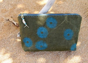 Image of Handmade Vintage French Linen Hand Printed Pouch Bag Clutch - Electric Blue Sea Urchin