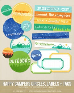 Image of *NEW* Happy Campers Circles, Labels + Tags (Digital)