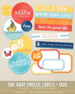 Image of *NEW* Sail Away Circles, Labels + Tags (Digital)