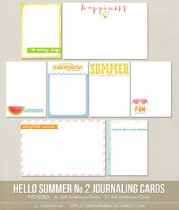 Image of *NEW* Hello Summer No.2 Journaling Cards (Digital)