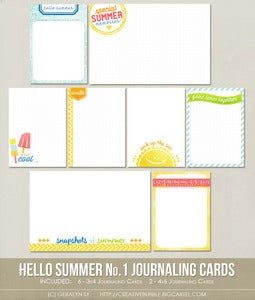 Image of *NEW* Hello Summer No.1 Journaling Cards (Digital)