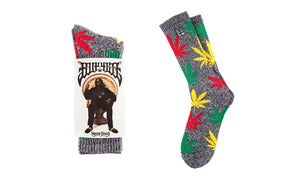 Image of HUF Plantlife Socks - HUF X Snoop 420 Grey Heather/ Black