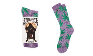 Image of HUF Plantlife Socks - HUF X Snoop 420 PURPLE