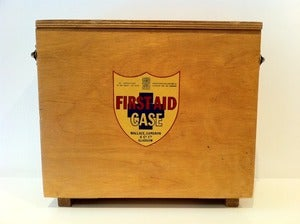Image of VINTAGE WOODEN FIRST AID CABINET WALLACE & CAMERON
