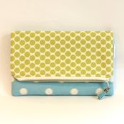 Image of foldover clutch - light blue and green