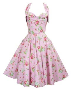 Image of Floral Halter Fifties Summer Dress MADE TO ORDER