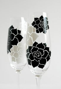 Image of Succulent Stone Rose Champagne Flutes - Set of 2 Toasting Flutes