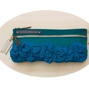 Image of tough ruffles double zip clutch in jade