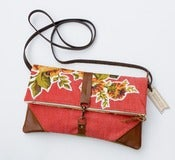 Image of foldover bag in tomato red with vintage floral appliques (c)