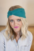 Image of teal green turban with silver dots