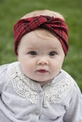Image of red and black plaid turban