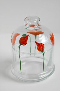 Image of Orange Poppies Covered Glass Butter Dish