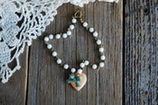 Image of Peach Heart And Mint Bow Bracelet