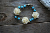 Image of Cream Rose and vintage Aqua Bead Bracelet
