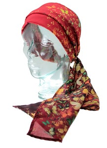 Image of Lily Greenwood 100% Silk Scarf - Butterflies on Red
