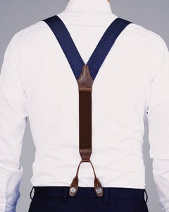 Image of Birdseye Fabric Braces Navy/Tan.