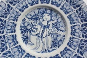 Image of Vintage Bjorn Winnblad blue & white Nymolle decorated plate/charger Denmark 1960/70s