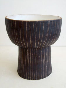 Image of stripey stoneware footed bowl