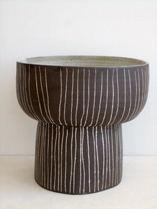 Image of large dark brown striped footed bowl