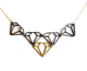 Image of Medium Oxidized Sterling and Brass Diamond Necklace
