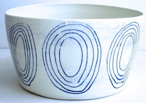 Image of large blue and white porcelain circle bowl