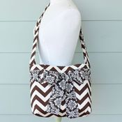 Image of mini messenger bag - chocolate chevron