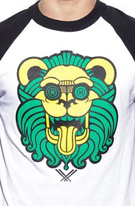 Image of LIONO A's Baseball 3/4 Sleeve Tee in Wht/Blk