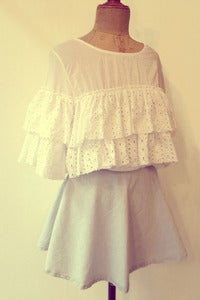 Image of eyelet ruffle cotton crop top