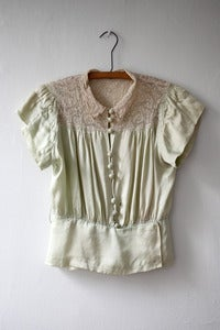 Image of Pistachio Silk and Lace Blouse