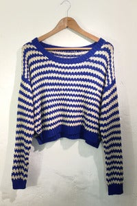 Image of open knit blue drop shoulders stripy jumper by TLO